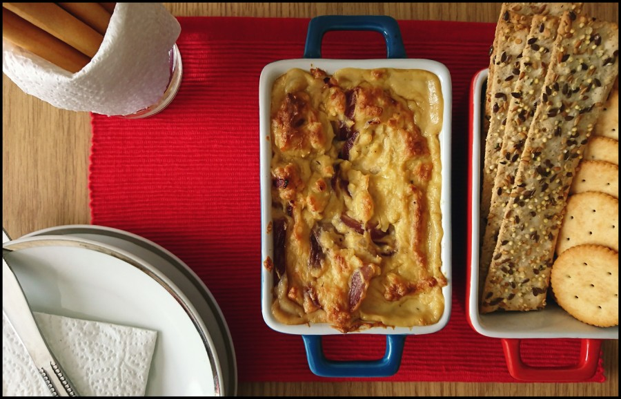 Cheese and Caramelised Red Onion Baked Dip