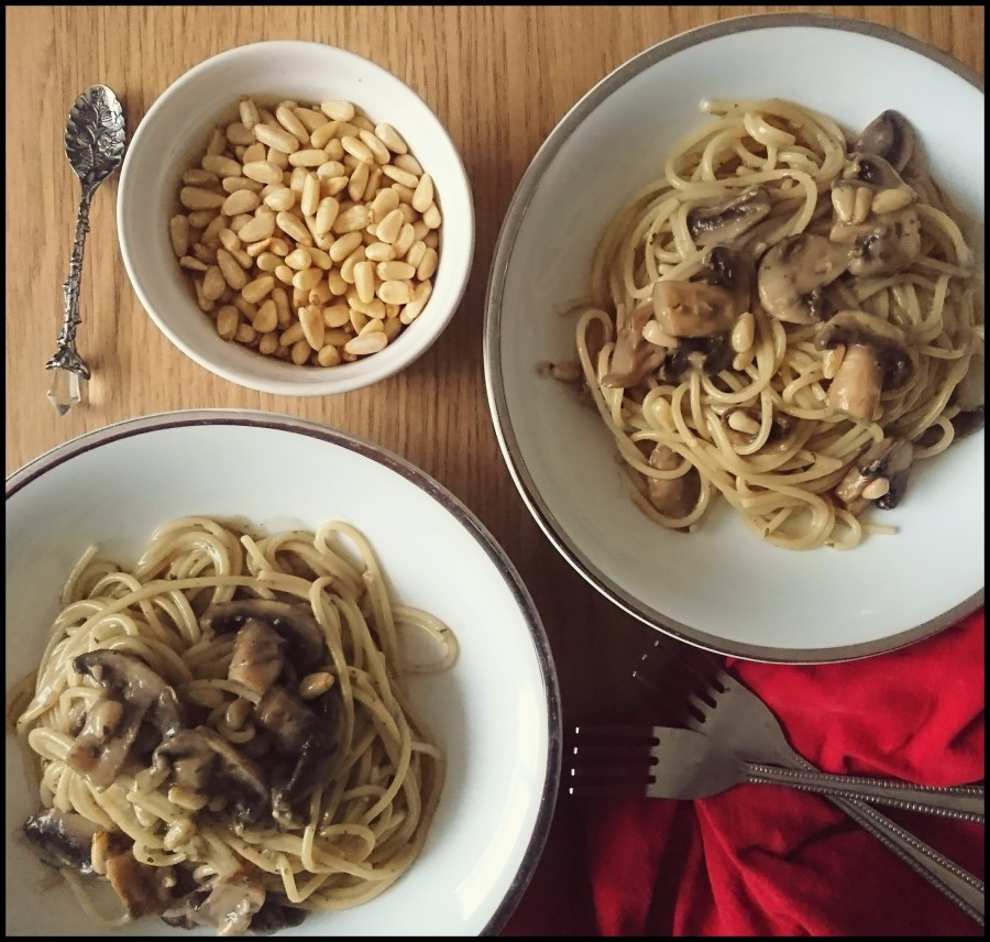 Mushroom & Pine NutSpaghetti
