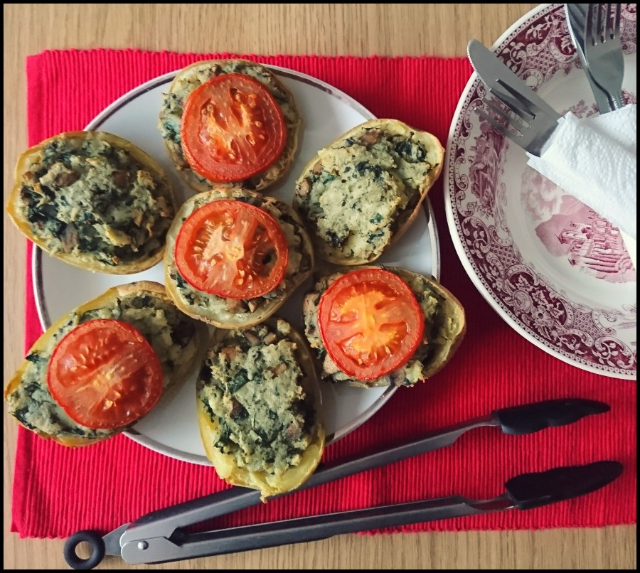Mushroom and Spinach Stuffed Potatoes
