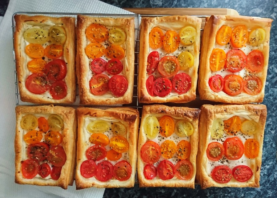 Soft Cheese & Cherry Tomato Tarts