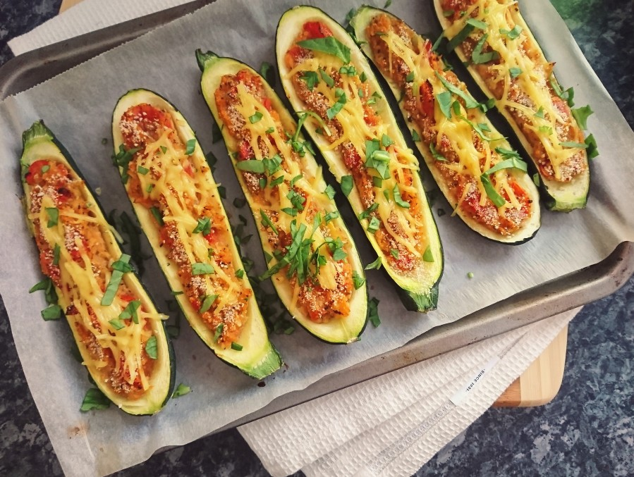 Tomato & Garlic Stuffed Courgettes