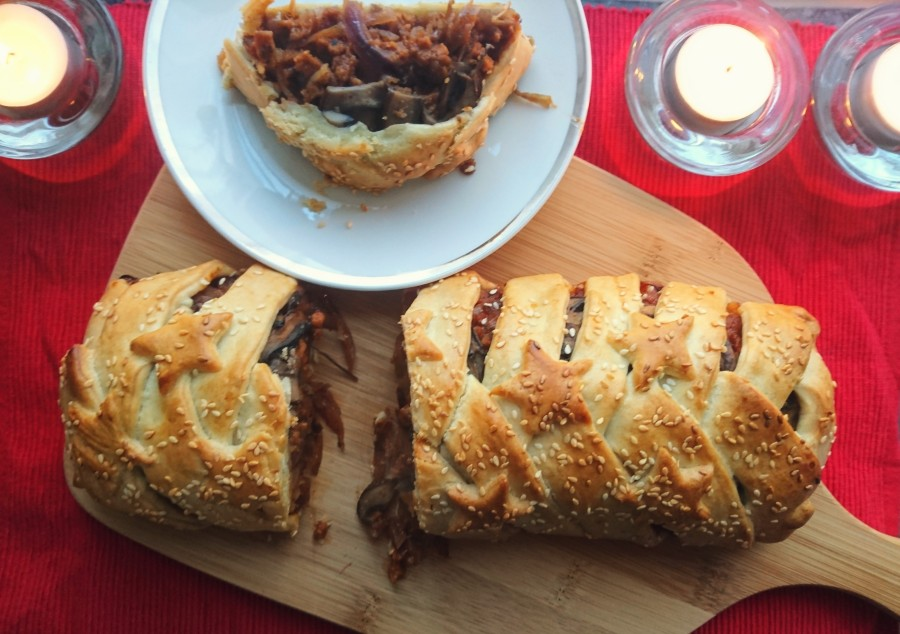 Chestnut Mushroom & Red Onion Sausage Plait