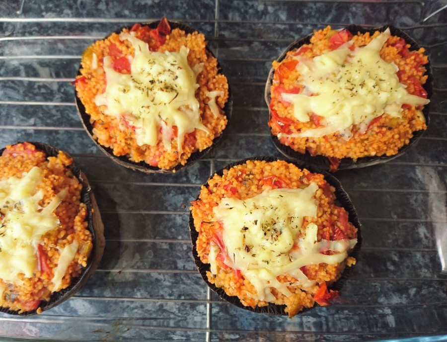 Cherry Tomato & Couscous Stuffed Field Mushrooms