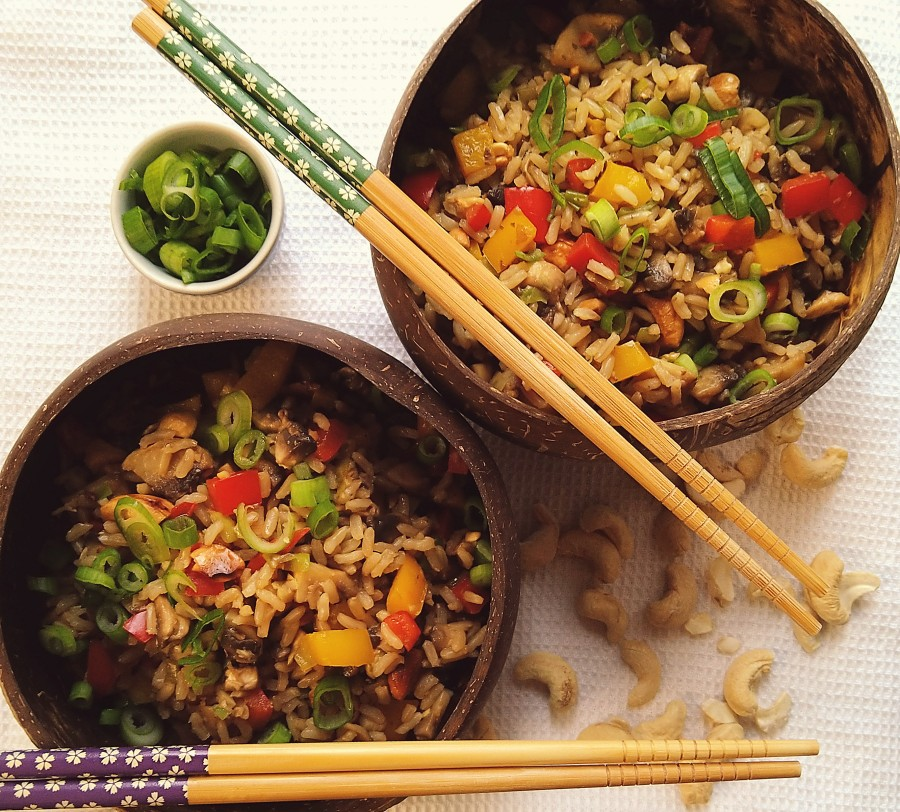 Mushroom and Pepper Fried Rice